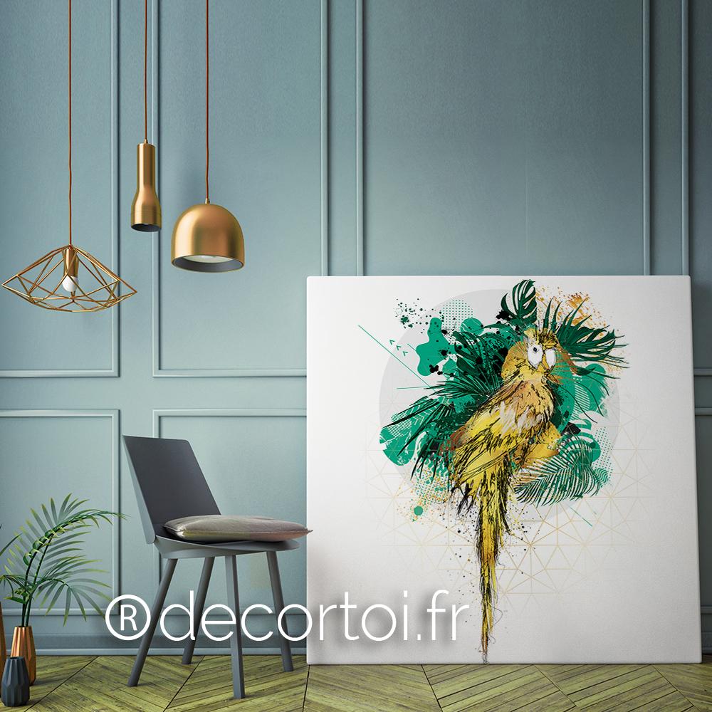 tableau perroquet jungle achat de tableaux sur internet decortoi. Black Bedroom Furniture Sets. Home Design Ideas
