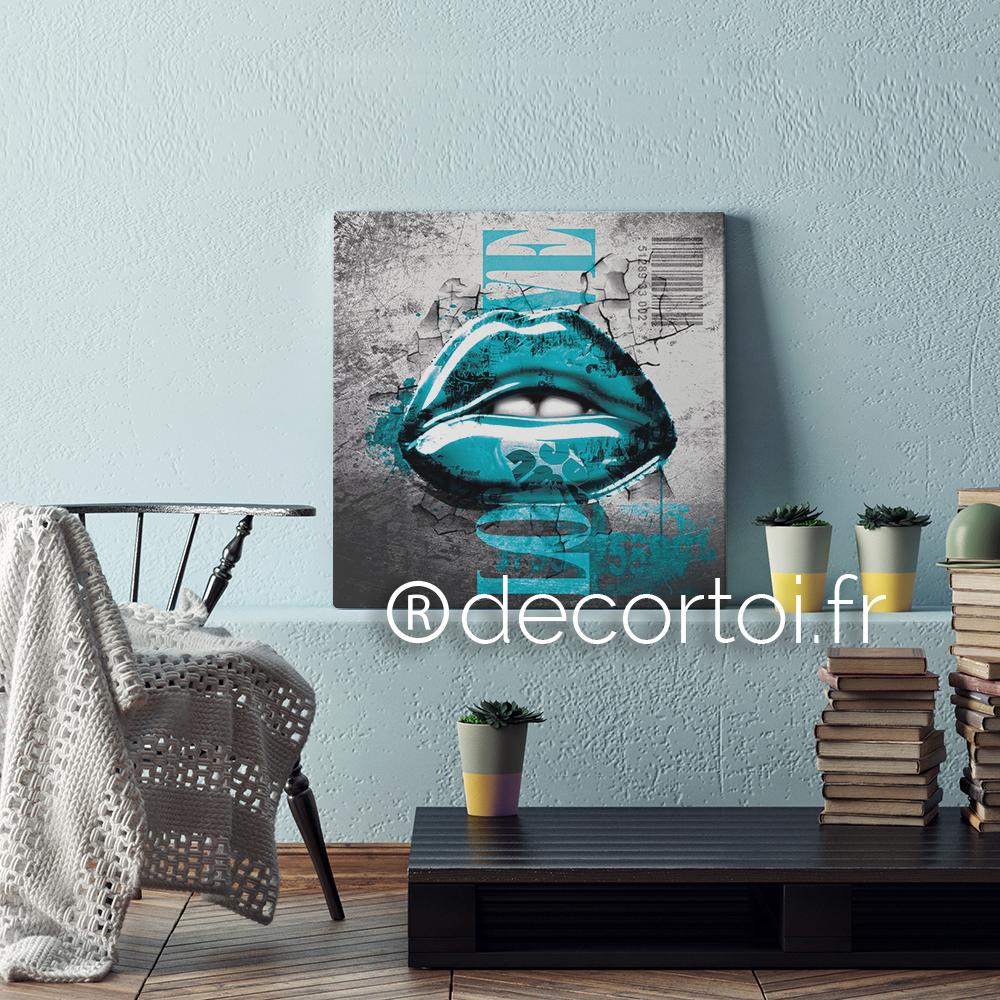 Tableau bouche love bleu turquoise fond gris achat de tableaux sur internet decortoi - Tableau bleu turquoise ...