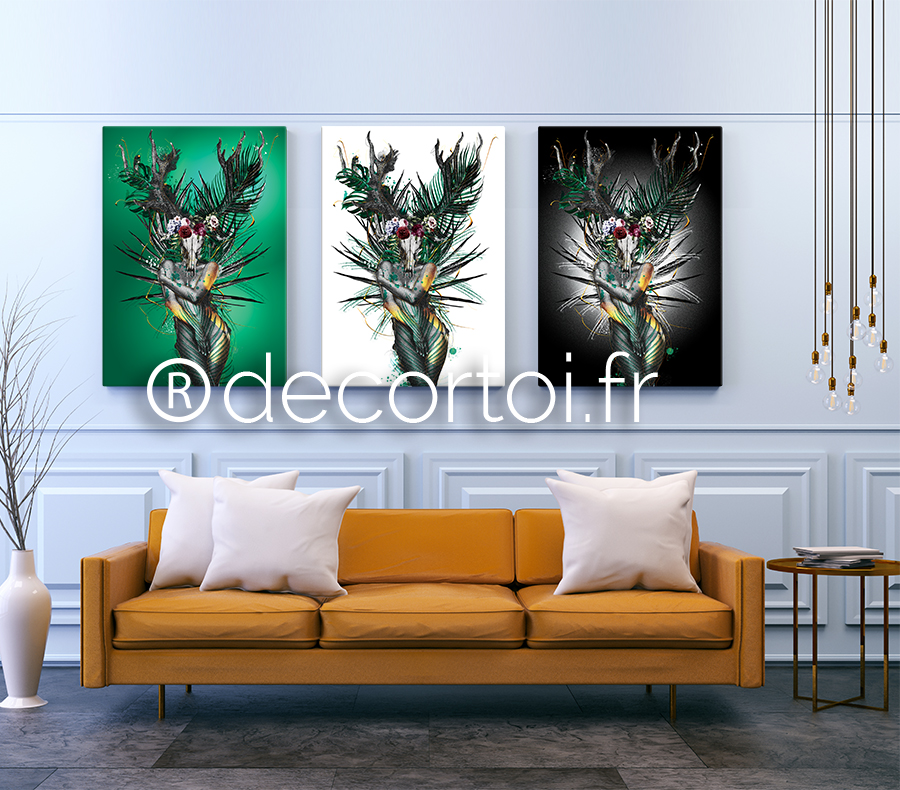 tableau femme skull jungle 2 achat de tableaux sur internet decortoi. Black Bedroom Furniture Sets. Home Design Ideas