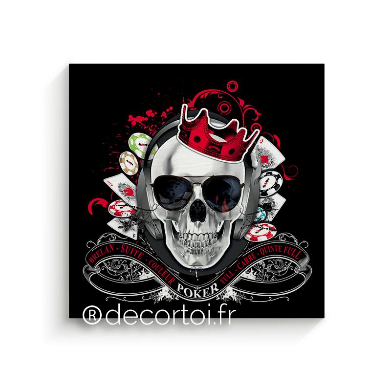 tableau skull poker noir achat de tableaux sur internet. Black Bedroom Furniture Sets. Home Design Ideas