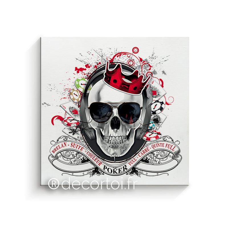tableau skull poker blanc achat de tableaux sur internet. Black Bedroom Furniture Sets. Home Design Ideas