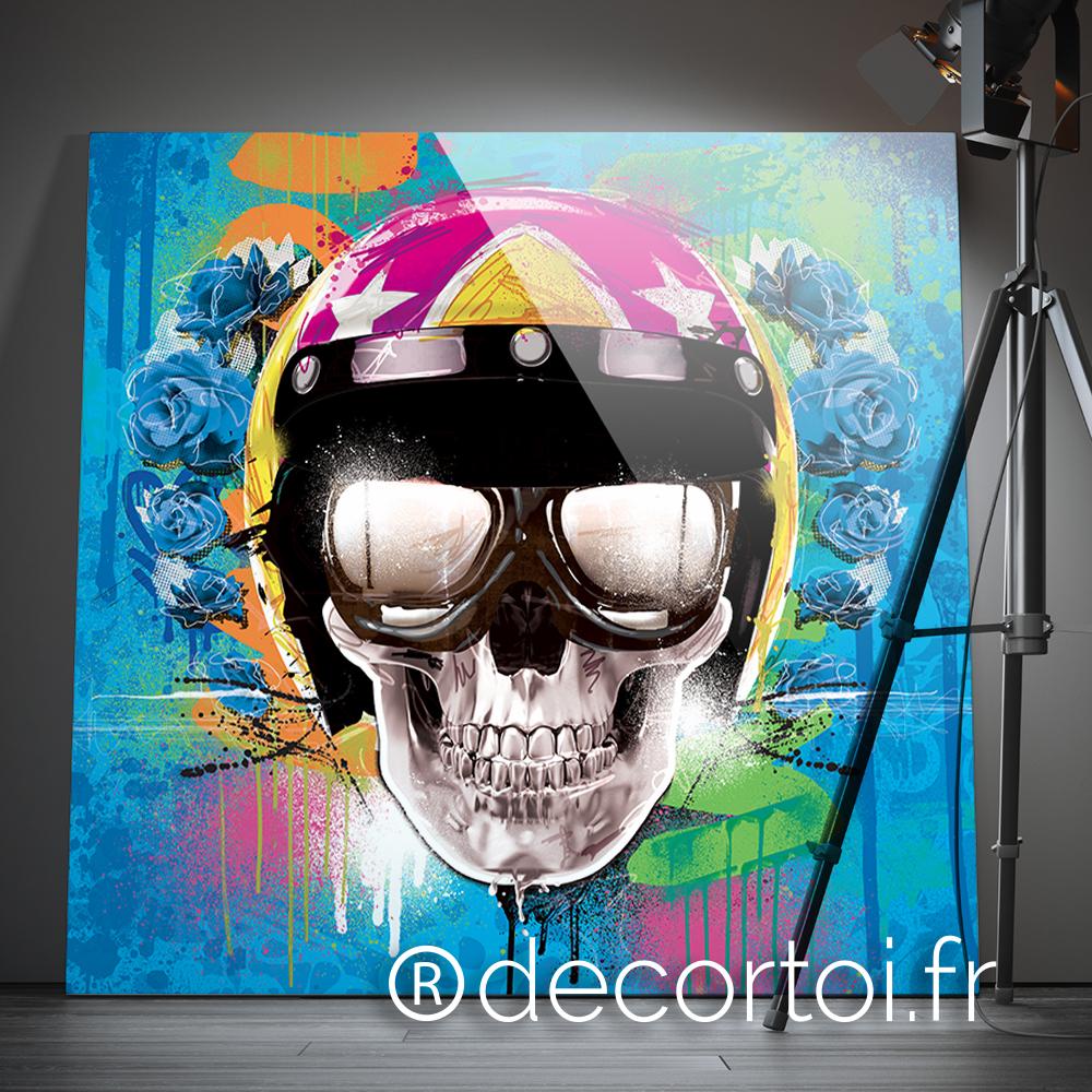 tableau skull motard bleu achat de tableaux sur internet. Black Bedroom Furniture Sets. Home Design Ideas