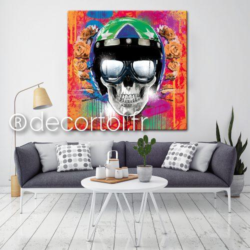 tableau skull motard orange archives achat de tableaux. Black Bedroom Furniture Sets. Home Design Ideas