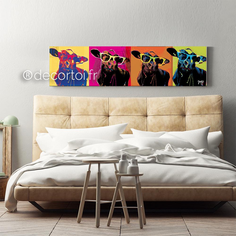 tableau vache pop large achat de tableaux sur internet decortoi. Black Bedroom Furniture Sets. Home Design Ideas