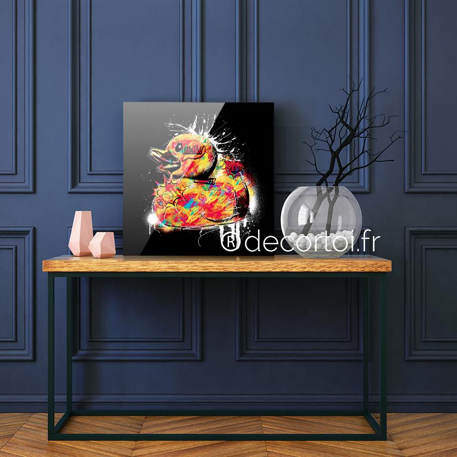 Plexi canard multicolor fond noir achat de tableaux sur internet decortoi - Canard decoration accessoire ...