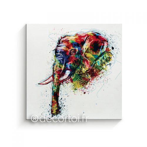 Connu Tableau Eléphant Multicolor fond noir - Achat de tableaux sur  KV09