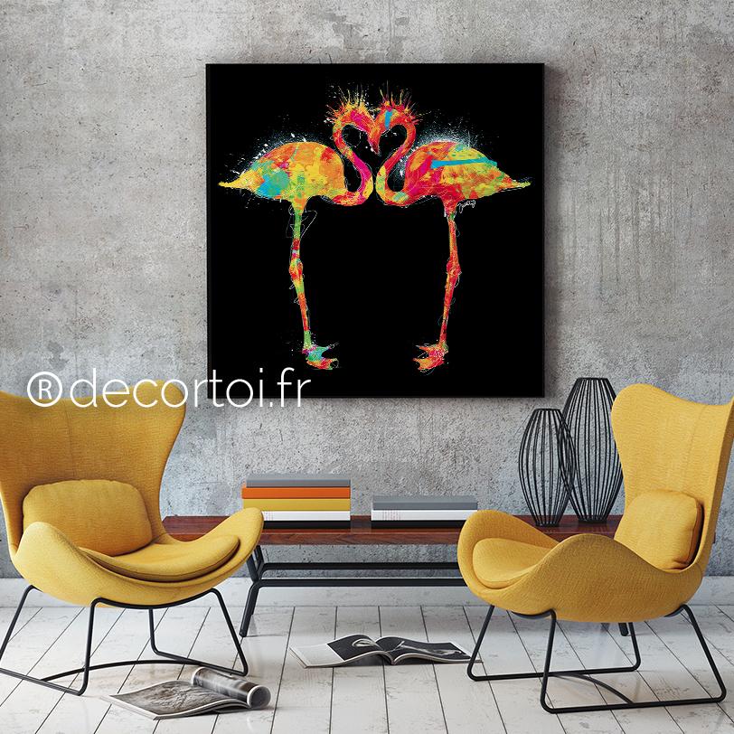 tableau flamants roses multicolor fond noir achat de. Black Bedroom Furniture Sets. Home Design Ideas