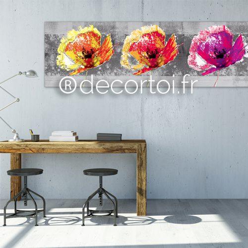 tableau trio coquelicots multicolors fond grunge archives achat de tableaux sur internet. Black Bedroom Furniture Sets. Home Design Ideas