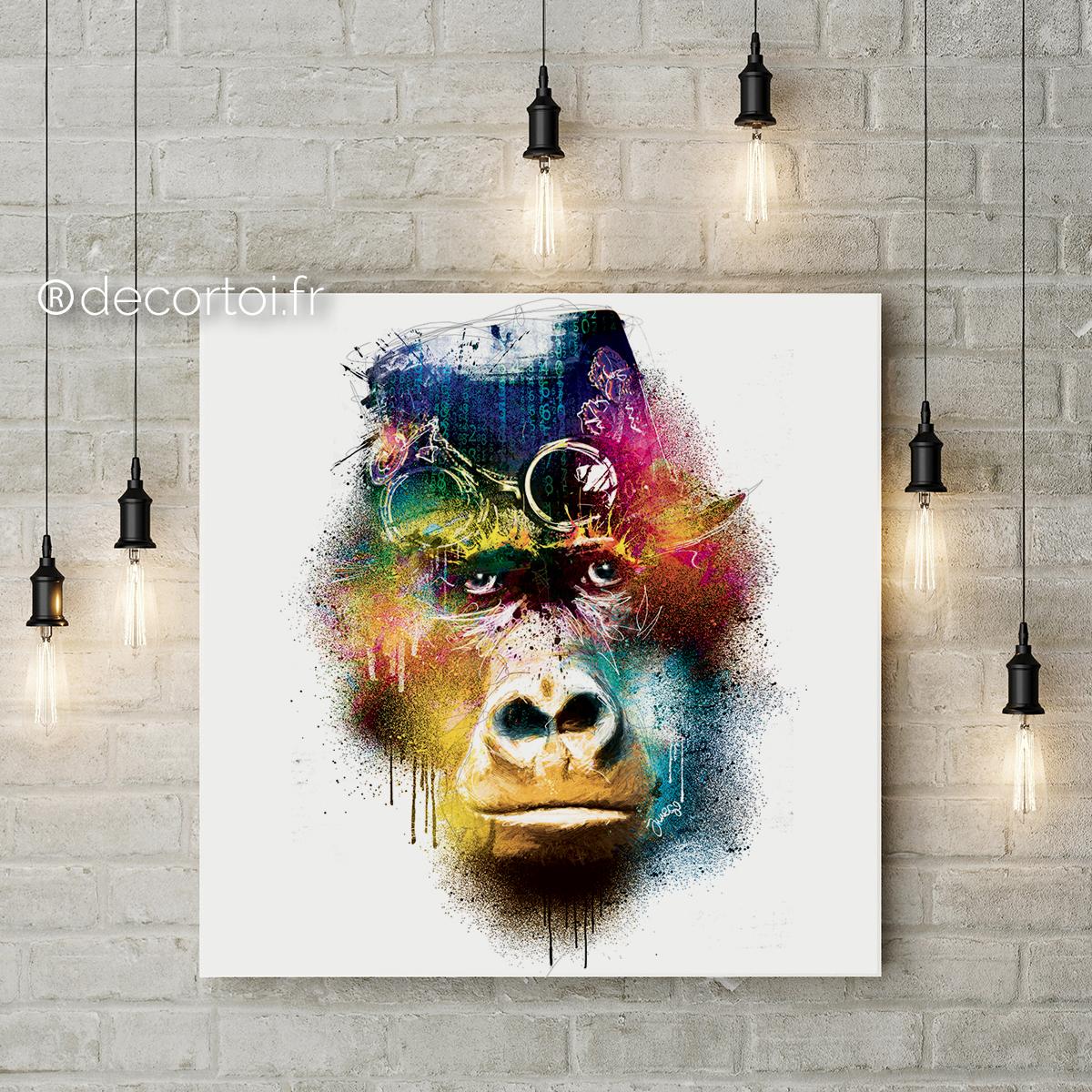 tableau gorille multicolor fond blanc achat de tableaux sur internet decortoi. Black Bedroom Furniture Sets. Home Design Ideas