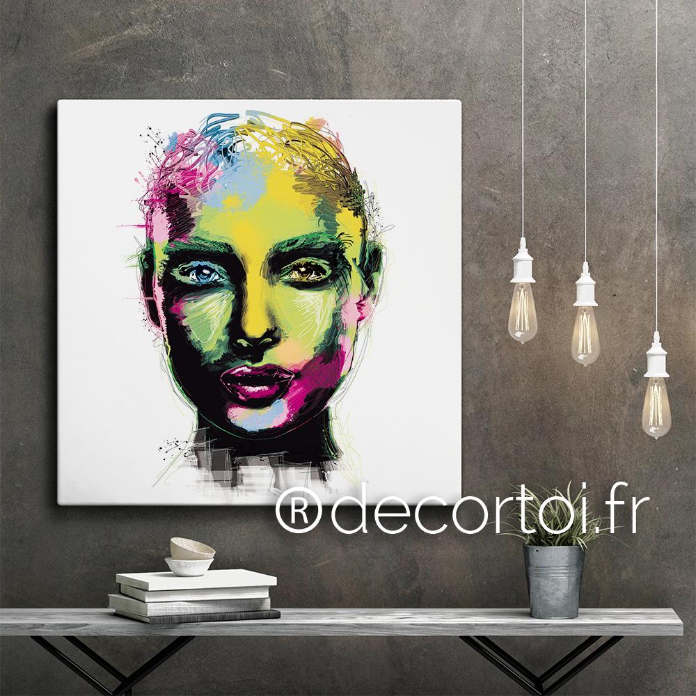 tableau visage femme multicolore fond blanc achat de tableaux sur internet decortoi. Black Bedroom Furniture Sets. Home Design Ideas