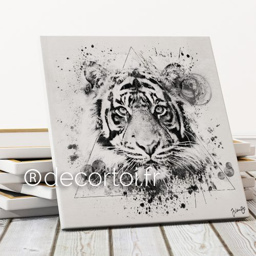 tableau tigre multicolor fond noir achat de tableaux sur internet decortoi. Black Bedroom Furniture Sets. Home Design Ideas