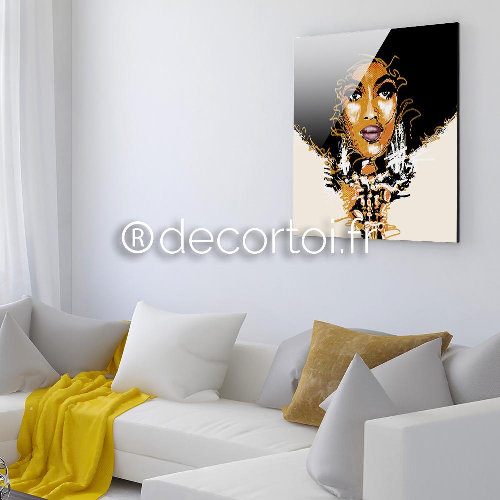 plexi femme afro achat de tableaux sur internet decortoi. Black Bedroom Furniture Sets. Home Design Ideas
