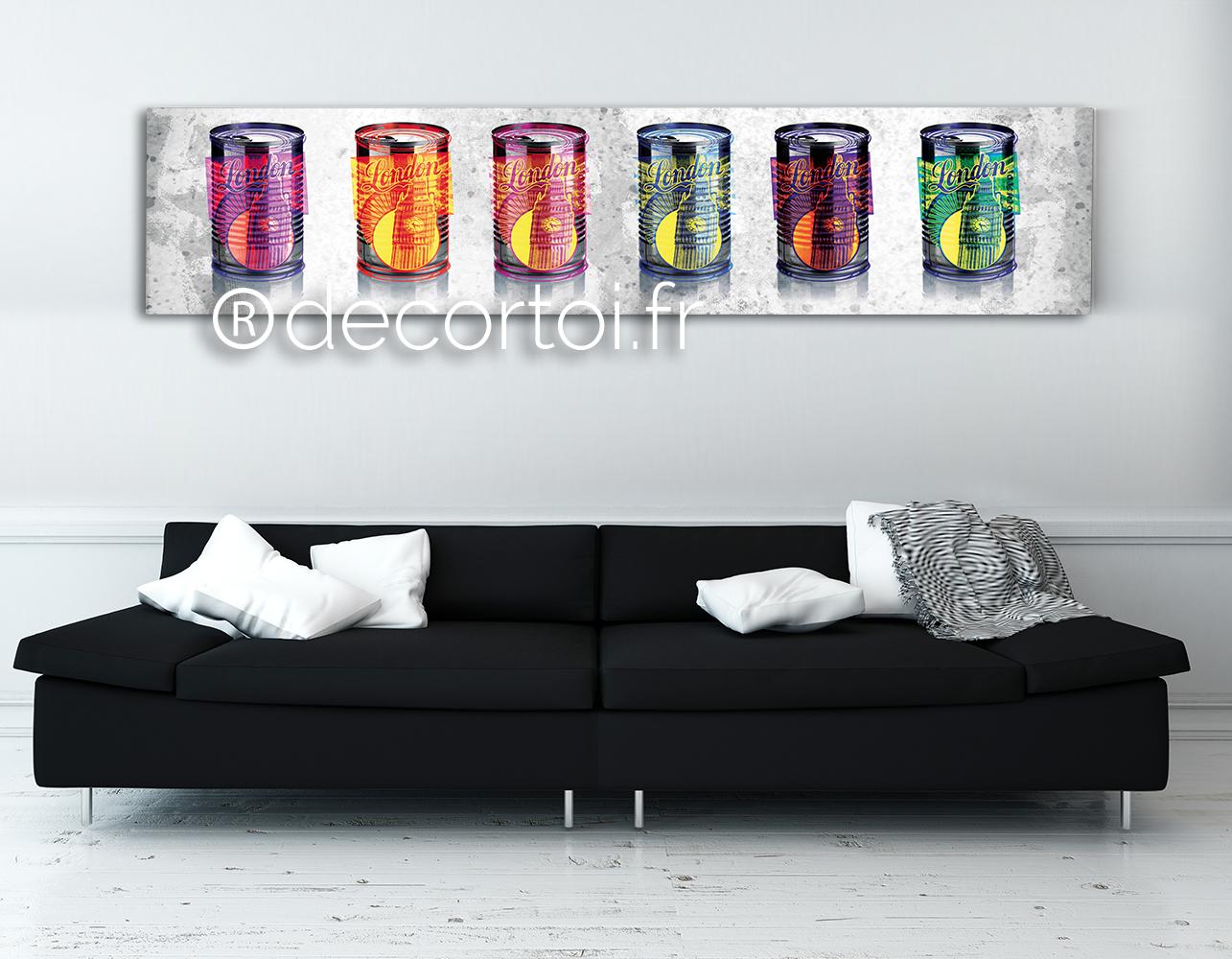 tableau conserves multicolores londres achat de tableaux sur internet decortoi. Black Bedroom Furniture Sets. Home Design Ideas
